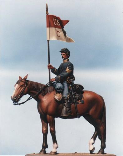 Cav1 - Union cavalry guidon bearer. Unpainted kit requires assembly  (supplied with lead sheet flag, for photo-etched alternative click onto F5 Union cavaltry guidon)- EN STOCK