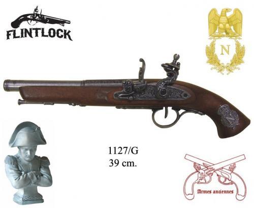 DENIX - Armes anciennes - 1127G - Flintlock pistol, France 18th. C. (left-handed - arme pour gaucher) - disponible sur commande