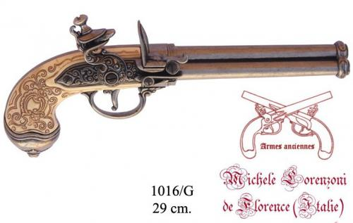DENIX - Armes anciennes - 1016G - Three-cannon pistol, manufactured by Lorenzoni, Italy 1680 - disponible sur commande