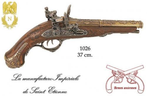 DENIX - Armes anciennes - 1026 - 2 cannons pistol manufactured in St. Etienne for Napoleon, 1806 - disponible sur commande