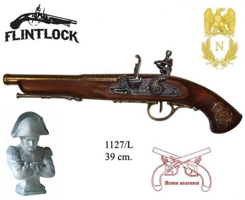 DENIX - Armes anciennes - 1127L - Flintlock pistol, France 18th. C. (left-handed - arme pour gaucher)