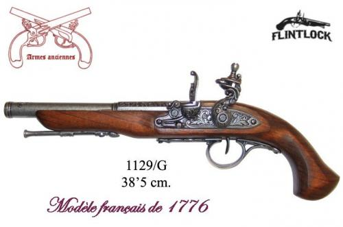 DENIX - Armes anciennes - 1129G - French Flintlock pistol, 18th. C. (left-handed - arme pour gaucher)