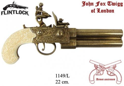 DENIX - Armes anciennes - 1149L - Flintlock pistol manufactured by Twigg, United Kingdom 18th. C - EN STOCK mais crosse noire
