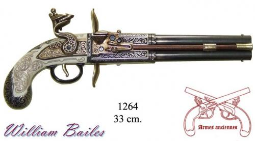 DENIX - Armes anciennes - 1264 - Double-barrelled turn-over pistol, made by William Bailes, United Kingdom, 1750 - disponible sur commande