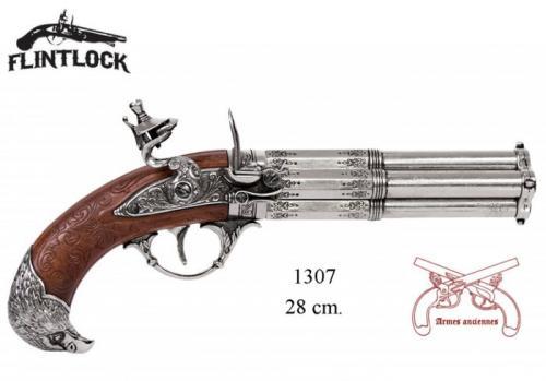 DENIX - Armes anciennes - 1307 - Revolving 4 barrel flintlock pistol, France 18th. C.- EN STOCK