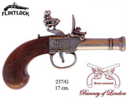 DENIX - Armes anciennes - 237G - Flintlock pistol manufactured by Bunney, England 18th. C. - disponible sur commande