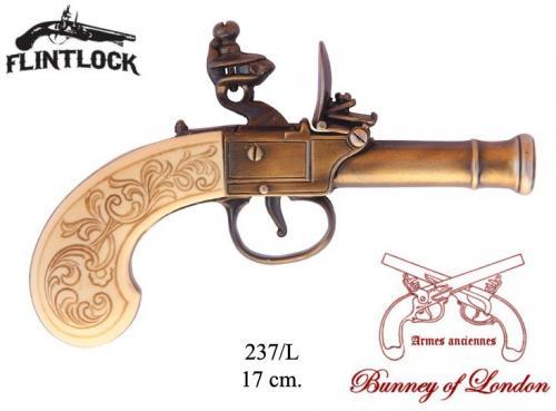 DENIX - Armes anciennes - 237L - Flintlock pistol manufactured by Bunney, England 18th. C. - disponible sur commande