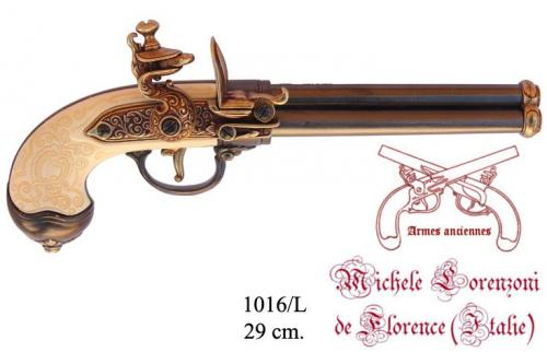 DENIX - Armes ancinennes - 1016L - Three-cannon pistol, manufactured by Lorenzoni, Italy 1680 - disponible sur commande