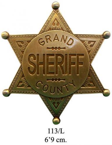 DENIX - Etoile de Sheriff - 113 L - Grand County Sheriff badge (cuivré) - EN STOCK