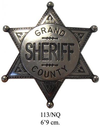 DENIX - Etoile de Sheriff - 113 NQ - Grand County Sheriff badge (argenté) - EN STOCK