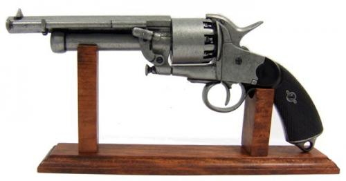 S808 - DENIX - Présentoir - Support en bois (33 cm) avec le revolver LeMAT de Denix