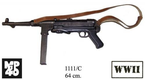 DENIX - WWII - 1111C - MP40 sub-machine gun, 9mm, Germany 1940. with leather belt (la bretelle se vend séparément) - EN STOCK