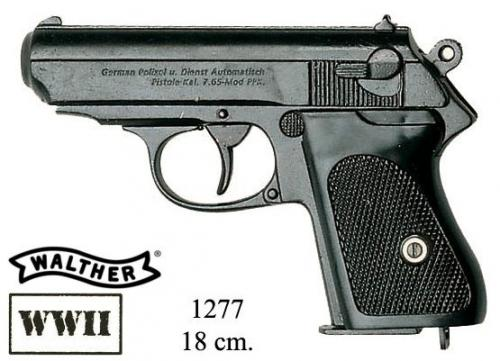 DENIX - WWII - 1277 - German semiautomatic pistol by Walther, favourite of most german officers in Wolrd War II - disponible sur commande