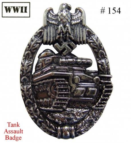 DENIX - WWII - 154 - Tank Assault Badge - EN STOCK