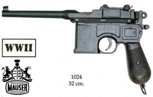 DENIX - WWI and WWII - 1024 - C96 pistol, designed by Mauser. with wood grips - EN STOCK