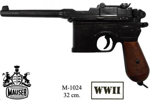 DENIX - WWI and WWII - M1024 - C96 pistol, designed by Mauser. with wood grips - EN STOCK
