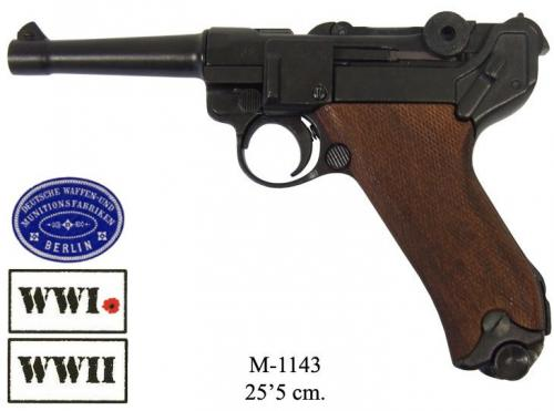 DENIX - WWI and WWII - M1143 - Parabellum Luger P08 pistol, Germany 1898 with wood grips - EN STOCK