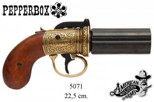 DENIX - revolver - 5071 - 6 cannons Pepper-box revolver, England 1840 (version dorée) - EN STOCK