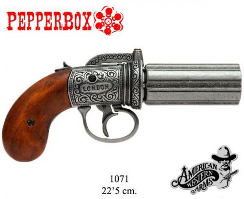 Denix - revolver - 1071 - 6 cannons Pepper-box revolver, England 1840, most popular in North America from 1830 until the American civil war - EN STOCK