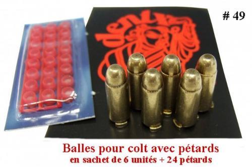 DENIX - revolver - 49 - Balles pour Colt (vendu en sachet de 6 unités + 24 pétards) - EN STOCK