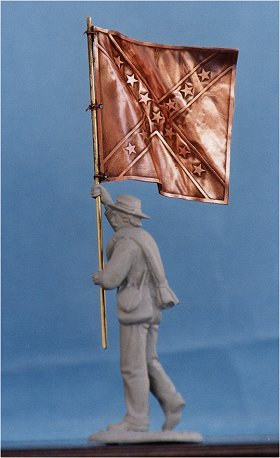 F01 - Confederate Infantry battle flag and pole. (figure not included) - EN STOCK