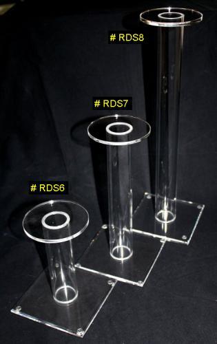 RDS6 + RDS7 + RDS8 - Helmet Stand - 3 Présentoirs ou Portes casque en acrylique transparent (Base 12,7 X 12,7 cm - (Haut. garnd modèle 39,5 cm , moyen 27 cm, petit 15 cm).