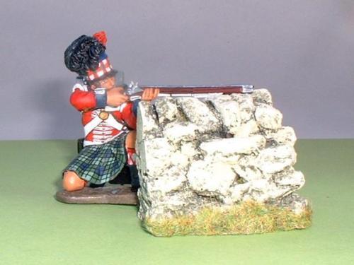 JG Miniatures - C08d - 1,5X1,5 Corner avec un Highlander de King and Country au 1-30ème