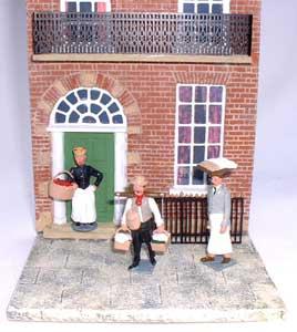 JG Miniatures - C27 - Georgian terraced house (brick) - diorama avec Figurines de Tradition of London au 1-32ème