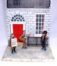 JG Miniatures - C28 - Georgian terraced house (stone) - diorama avec Figurines de Tradition of London au 1-32ème
