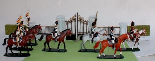 JG Miniatures - C29, C34, C35 - Park Gates - diorama avec les figurines de l Escorte Royale belge de JLD Miniatures au 1-32ème