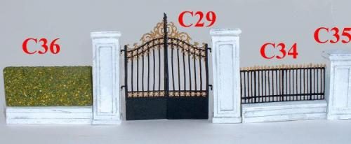 JG Miniatures - C29 Park Gates - C34 Park Wall with railings - C35 Park Wall Posts - C36 (out of stock - épuisé)