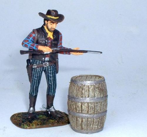 JG Miniatures - C30 - Large Barrel - diorama avec un cow boy de Janatzki Arts au 1-30ème