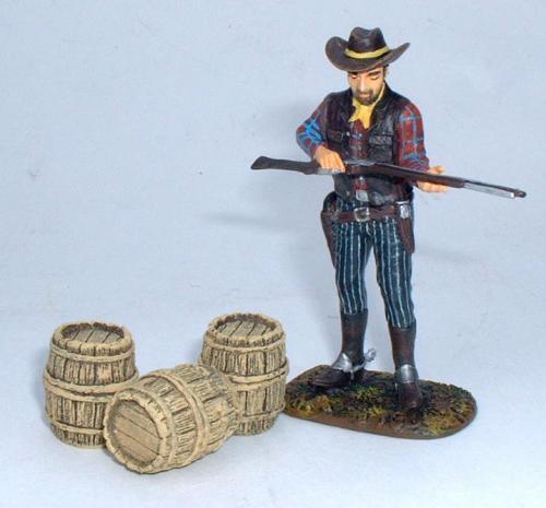 JG Miniatures - C31 - Small Barrels - diorama avec un cow boy de Janetzki Arts au 1-30ème