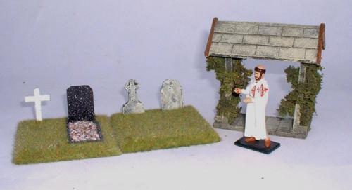 JG Miniatures - C39A - Lych Gate (cimetière) - diorama avec un moine de fabrication inconnue au 1-32ème