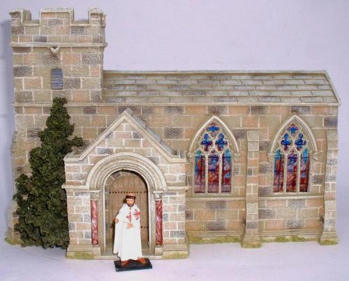 JG Miniatures - C39 - Church - dioarama avec un moine de firme inconnue au 1-32ème