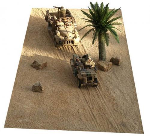 JG Miniatures - FM6 - Desert sand mat with diagonal tracks