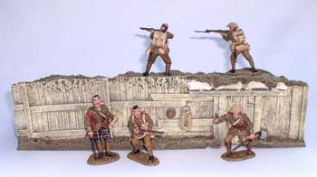 JG Miniatures - M08 - WW1 trench section back (1914-1918 tranchée arrière) - diorama with King and Country soldiers