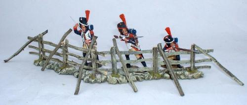 JG Miniatures - M12 - Spilt Rail Fence  X2 - diorama avec les Grenadiers de  King and Country au 1-30ème