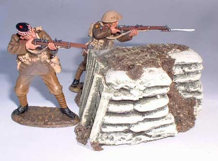 JG Miniatures - M28 b - Sandbagged Internal Corner - diorama avec figurines King and Country au 1-30ème