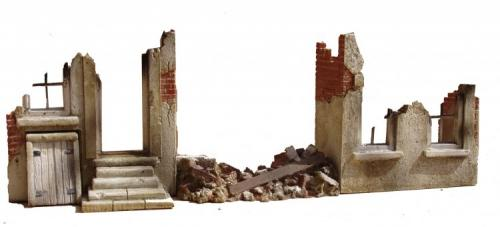 JG Miniatures - M38 - Ruined walls with rubble (3 piece set )