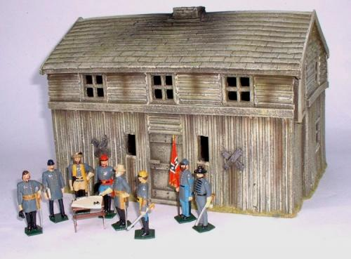 JG Miniatures - M44 d - American log fort bunkhouse - diorama avec figurines de Tradition of London au 1-32ème