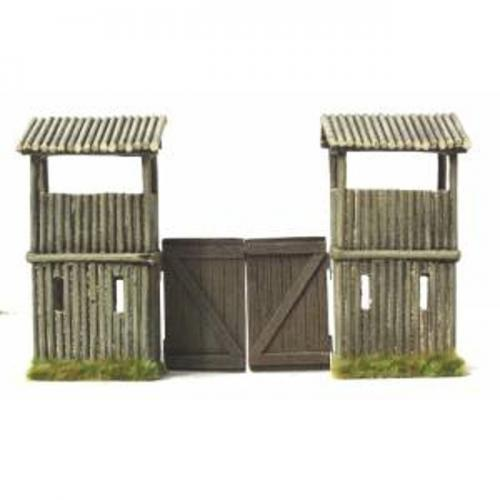 JG Miniatures - M44 b - American log fort gates with watch towers