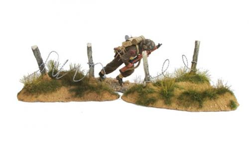 JG Miniatures - M53 f - Pair of small dunes with barbed wire