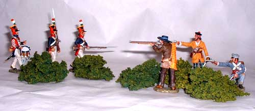 JG Miniatures - S08a - Bag of mixed bushes (green) avec figurines King and Country au 1-30ème