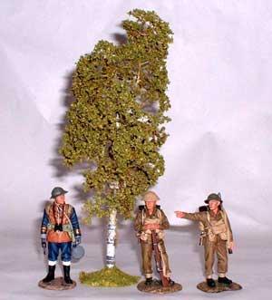 JG Miniatures - S09a - Medium Birch (bouleau) avec figurines King and Country au 1-30ème