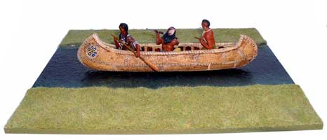 JG Miniatures - S10 - River Section (straight) - diorama with new Lineol indians on canoe