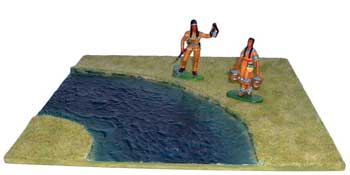 JG Miniatures - S11 River Section (curved) - diorama with Rylit indians