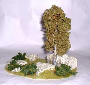JG Miniatures - S12 - Small dioarama with birch tree, rocks and bushes