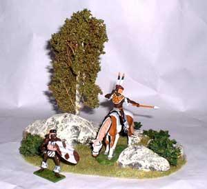 JG Miniatures - S12 - Small dioarama with birch tree, rocks and bushes avec figurines de Little Legion au 1-32ème