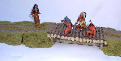 JG Miniatures - S13 - Log bridgeset - diorama with new Lineol and Rylit Indians